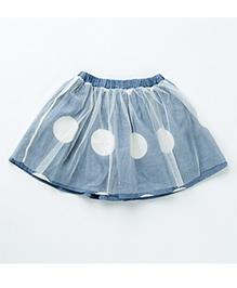 MilkTeeth Big Polka Dot Skirt - Mid Blue