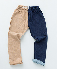 MilkTeeth Twin Leggings - Beige & Blue