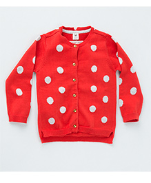 MilkTeeth Polka Dot Cardigan - Orange