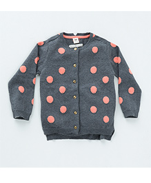 MilkTeeth Polka Dot Cardigan - Mid Grey