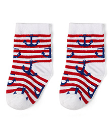 Babyhug Cotton Socks Anchor With Striped Print - Blue & Red