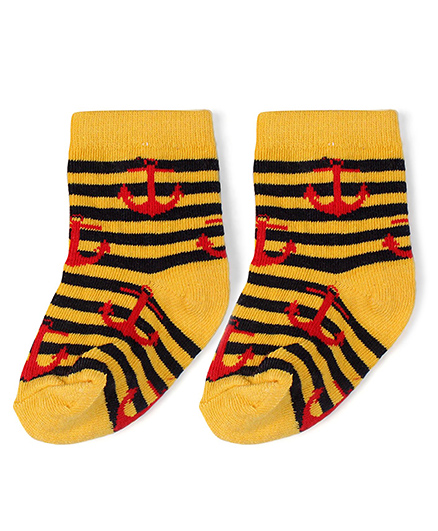 Babyhug Cotton Socks Anchor With Striped Print - Yellow & Red