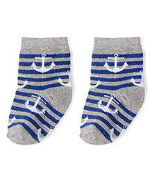Babyhug Cotton Socks Anchor With Striped Print - Grey & Royal Blue