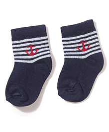 Cute Walk by Babyhug Cotton Socks With Single Anchor On Solid & Stripes - Navy
