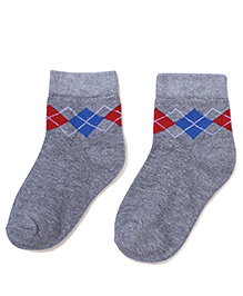 Cute Walk by Babyhug Solid Color With Print Socks - Grey & Red