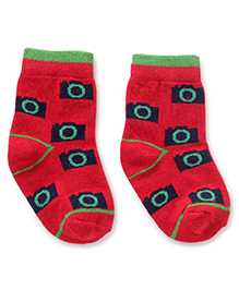 Cute Walk by Babyhug Ankle Length Socks Camera Design - Red