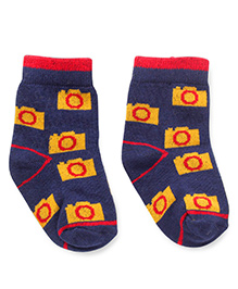 Cute Walk by Babyhug Ankle Length Socks Camera Design - Navy