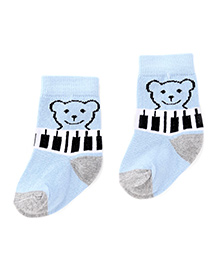Cute Walk by Babyhug Ankle Length Socks Bear Design - Light Blue