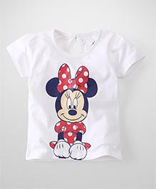 Disney by Babyhug Short Sleeves Top Minnie Print - White