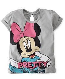 Disney by Babyhug Short Sleeves Top Minnie Pretty Like Mummy Print - Grey