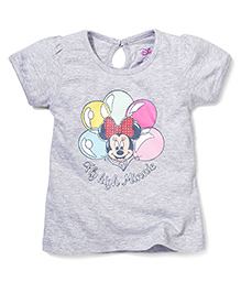 Disney by Babyhug Half Sleeves Fly High Minnie Print Top - Grey