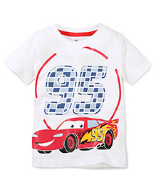 Disney by Babyhug Round Neck Car 95 Print Short Sleeves T-Shirt - White