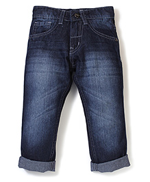 Babyhug Regular Fit Stone Washed Turn-Up Style Jeans - Blue