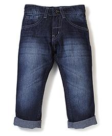 Babyhug Regular Fit Stone Washed Turn-Up Style Jeans - Blue