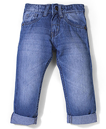 Babyhug Regular Fit Stone Washed Turn-Up Style Jeans - Light Blue