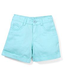 Babyhug Plain Shorts - Aqua