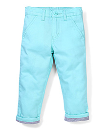 Babyhug Trouser With turn Up Bottom - Sea Green