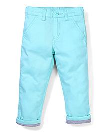 Babyhug Trouser With turn Up Bottom - Sea Green