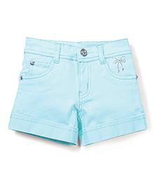 Babyhug Plain Solid Color Shorts With Embellishments - Light Blue