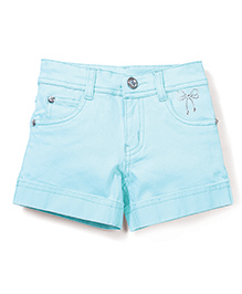 Babyhug Plain Solid Color Shorts With Embellishments - Light Blue