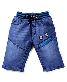 Babyhug Denim Shorts With Drawstring Monster Applique - Light Blue