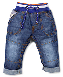 Babyhug Denim Full Length Jeans With Waist Band - Dark Blue