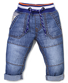 Babyhug Denim Full Length Jeans With Waist Band - Light Blue