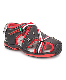 Cute Walk Floater Sandals With Velcro Strap - Black Red