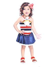 N-XT Singlet Top And Denim Skirt Stripe Pattern - Red Navy