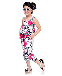 N-XT Sleeveless Jumpsuit Floral Applique - White Pink