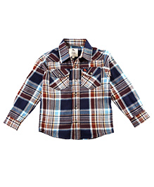 Cherry Crumble California Patterned Casual Shirt - Brown & Blue