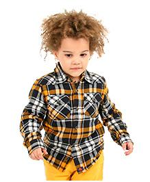 Cherry Crumble California Checkered Shirt - Black & Orange