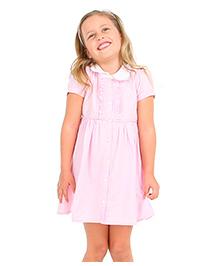 Cherry Crumble California Pretty Collar Shirt Dress - Baby Pink