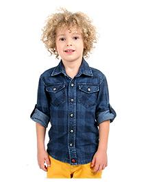 Cherry Crumble California Vintage Washed Denim Shirt - Blue