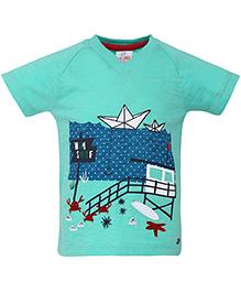 FS Mini Klub Half Sleeves T-Shirt Swim Surf Print - Green