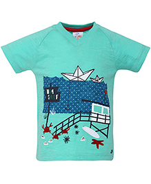 FS Mini Klub Half Sleeves T-Shirt Swim Surf Print - Green