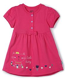 FS Mini Klub Short Sleeves Frock Bow Applique - Pink