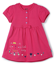FS Mini Klub Short Sleeves Frock Bow Applique - Pink