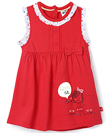 FS Mini Klub Sleeveless Frock Bow Applique- Red