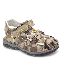 Cute Walk Floater Sandals With Velcro Strap - Beige