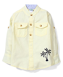 Babyhug Full Sleeves Shirt Palm Tree Print - Yellow