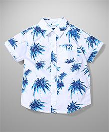 Babyhug Half Sleeves Shirt Palm Tree Print - White