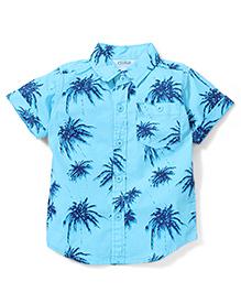 Babyhug Half Sleeves Shirt Palm Tree Print - Blue