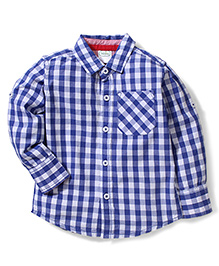 Babyhug Full Sleeves Shirt Checks Print - Blue and White