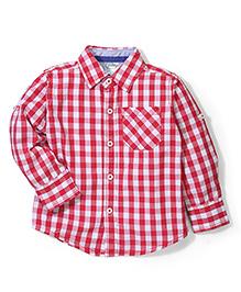Babyhug Full Sleeves Shirt Checks Print - Red and White