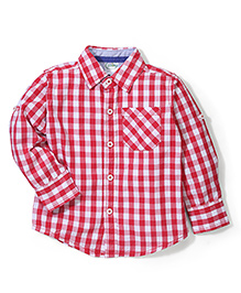 Babyhug Full Sleeves Shirt Checks Print - Red and White