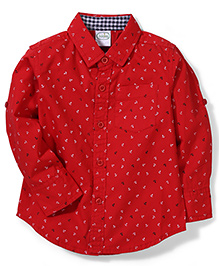 Babyhug Full Sleeves Shirt Anchor Print - Red