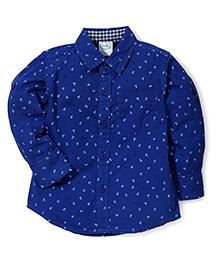 Babyhug Full Sleeves Shirt Anchor Print - Royal Blue