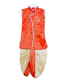 Swini's Baby Wardrobe Kurtha & Dhoti - Orange & Cream