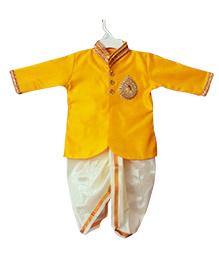Swini's Baby Wardrobe Kurtha & Dhoti - Yellow& Pattu